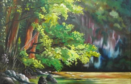 Belle lumière au bord du Doubs - 50 X 60 cm <br /> VENDUE
