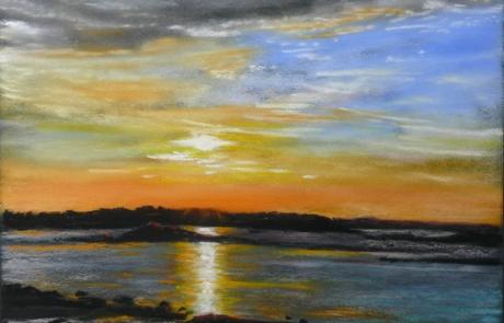 Coucher de soleil sur la pointe du Chevet - 22x26 cm <br /> CHF 250