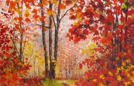 L automne rouge - 60 X 60 cm <br /> CHF 950
