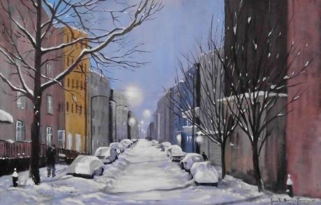 La neige recouvre la ville - 40 X 60 cm <br /> CHF 750