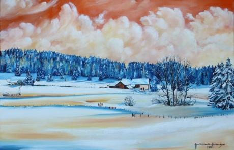 L'hiver aux Rottes - 40 X 60 cm <br /> CHF 650