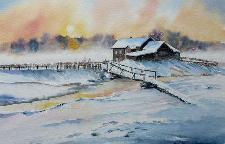 Matin d hiver - 30 X 40 cm <br /> CHF 400
