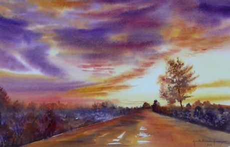 Sunset road 35 X 55 cm <br /> CHF 550