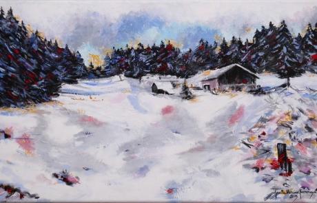 Un hiver Derrière Chaley - 30 X 50 cm <br /> CHF 650