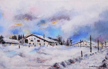 Un hiver au Peuchapatte - 30 X 50 cm <br /> VENDUE