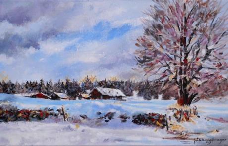 Un hiver aux Cufattes - 30 X 50 cm <br /> CHF 650