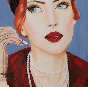 Femme aux gants résilles - 100 x 50 cm <br /> CHF 1
