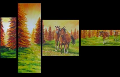 pâturages et chevaux au coucher du soleil <br /> VENDUE